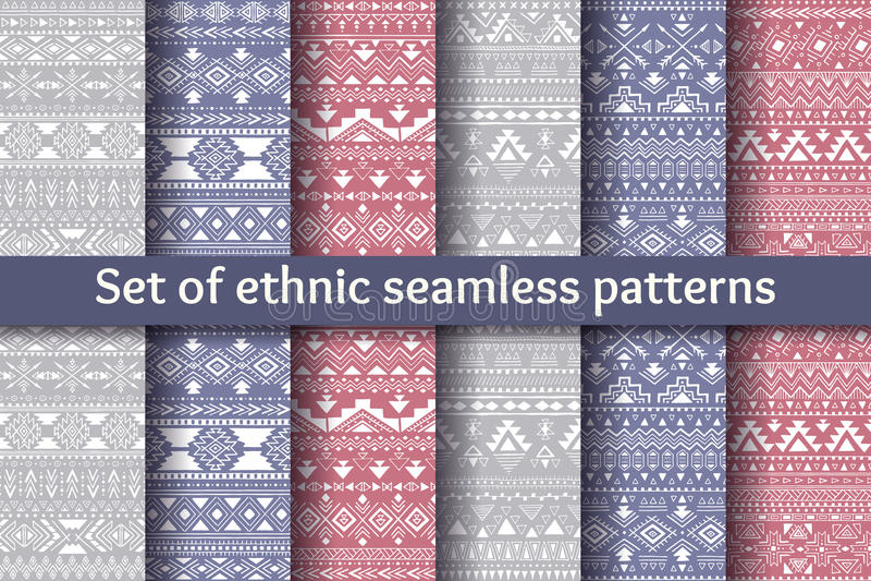 Un insieme di sei modelli senza cuciture etnici illustrazione di stock