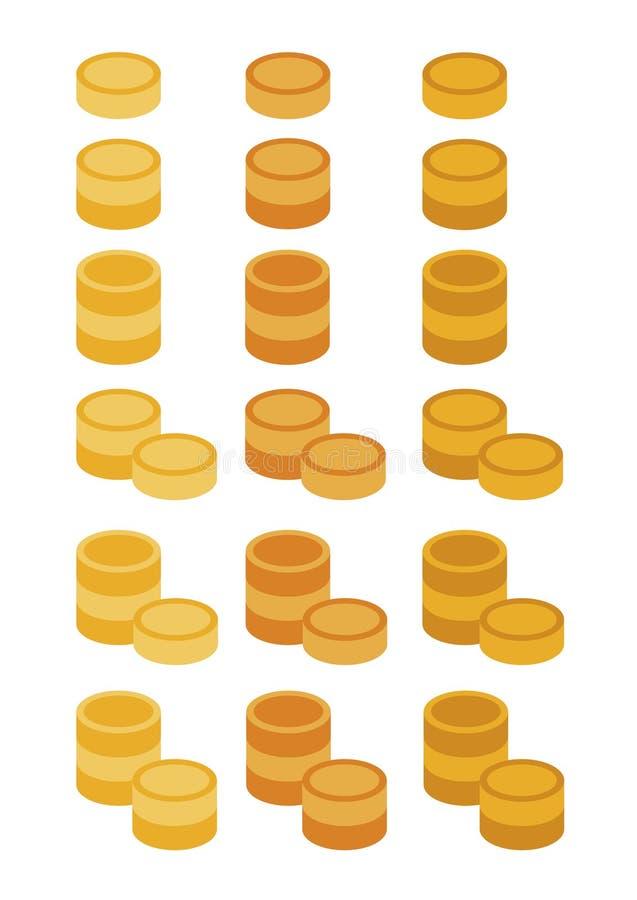 Un insieme di sei mucchi delle monete di oro fotografia stock libera da diritti