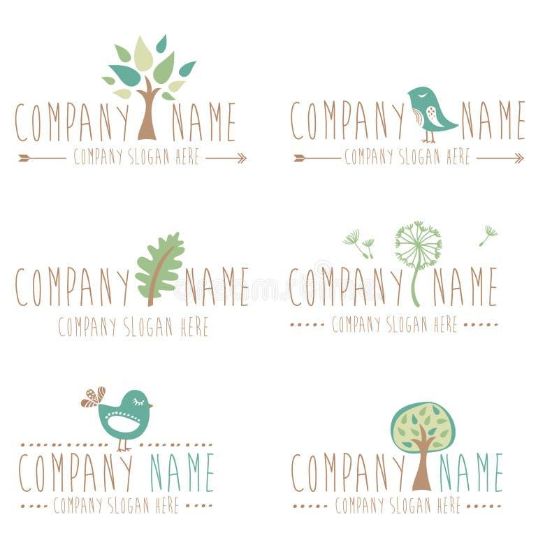 Un insieme di sei nature e del logos di giardinaggio royalty illustrazione gratis
