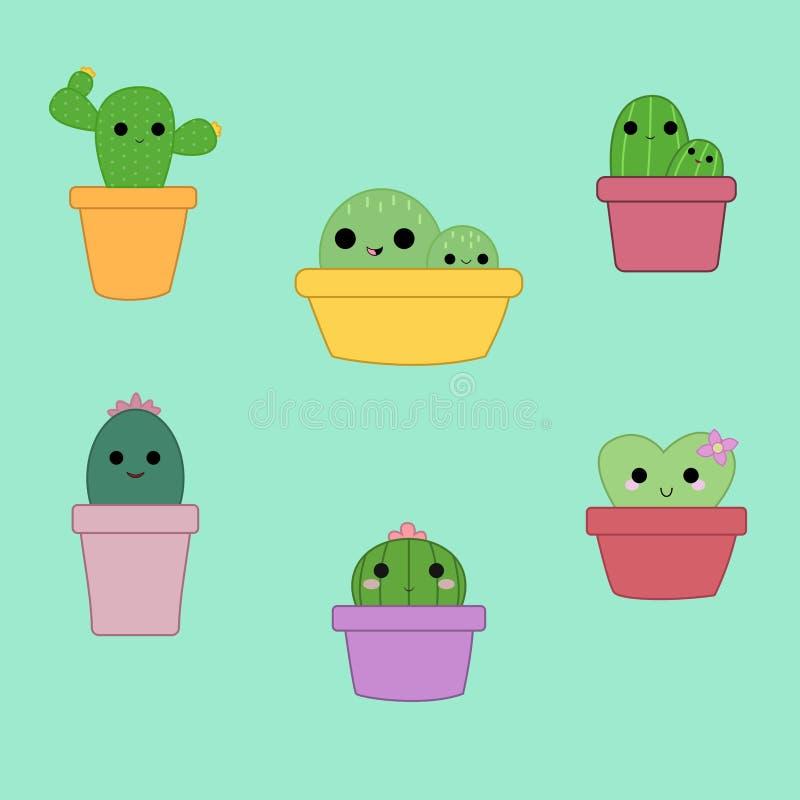 Un insieme di sei piante sveglie del cactus fotografia stock