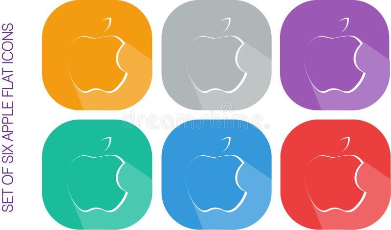 Un insieme di sei progettazioni piane Apple Logo Icons Vectors immagine stock libera da diritti