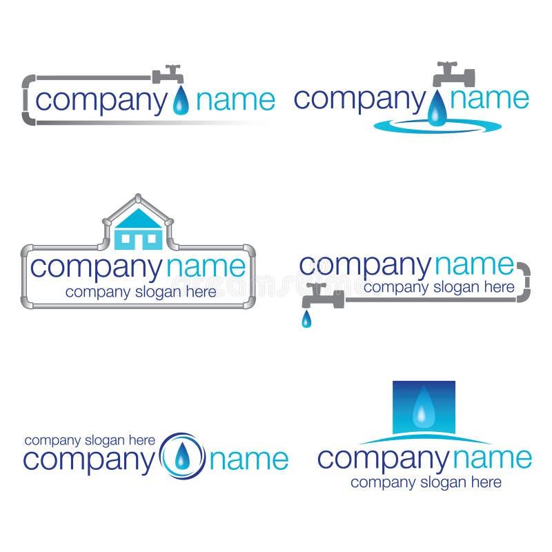 Un insieme di sei scandagliare e logos dell'acqua illustrazione di stock