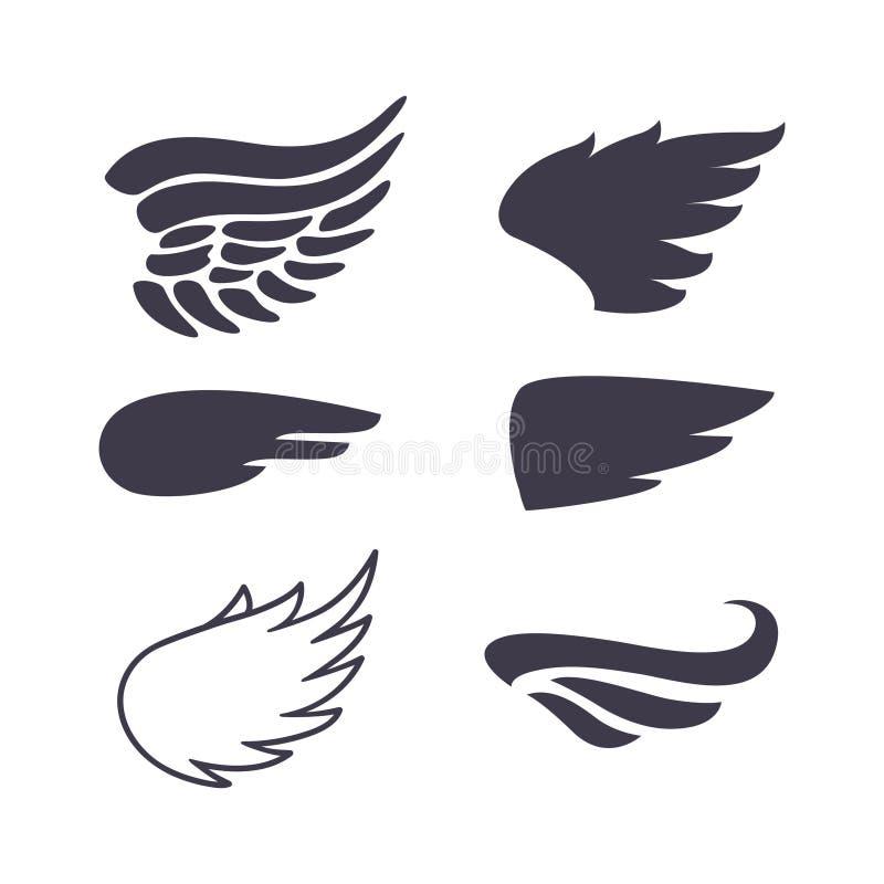 Un insieme di sei siluette delle ali illustrazione vettoriale