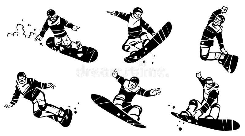 Un insieme di sei snowboarders Illustrazione disegnata a mano illustrazione vettoriale