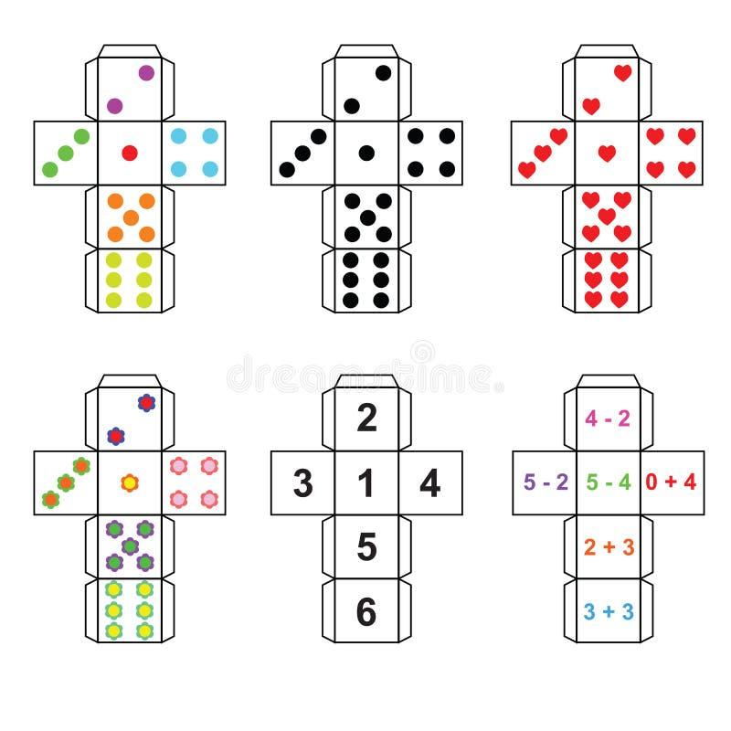 Un insieme di sei varianti dei dadi royalty illustrazione gratis