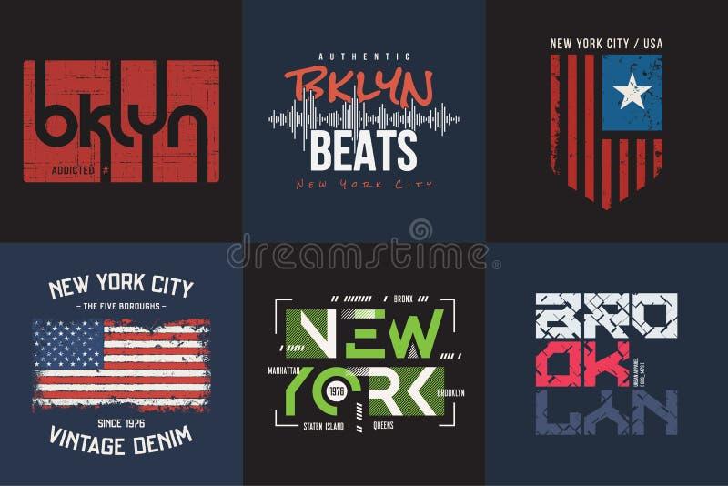 Un insieme di sei vettori ha disegnato la maglietta di Brooklyn e di New York e appar illustrazione vettoriale