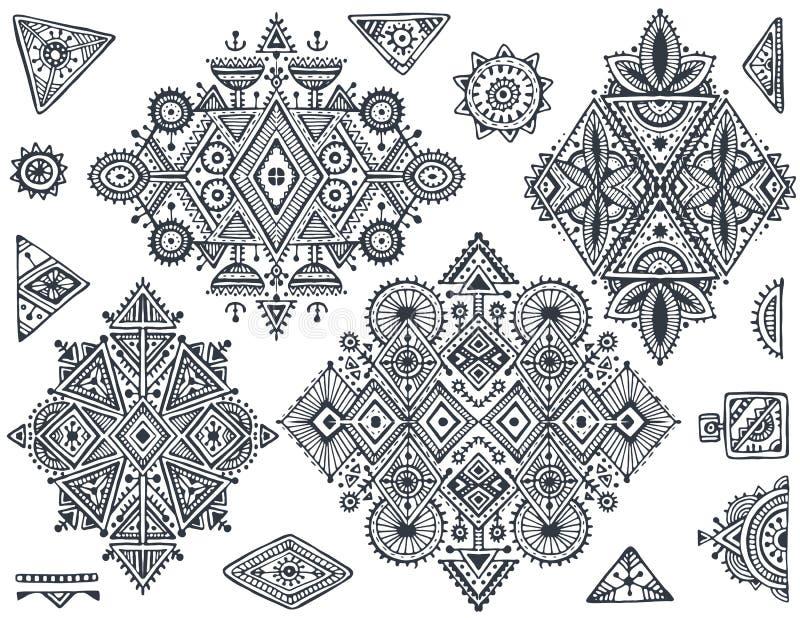 Un insieme di sette modelli geometrici disegnati a mano di boho tribale di arte illustrazione vettoriale