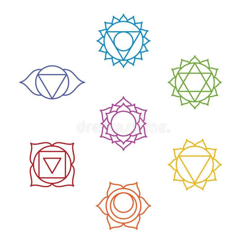 Un insieme di sette simboli di chakra Yoga, meditazione illustrazione vettoriale