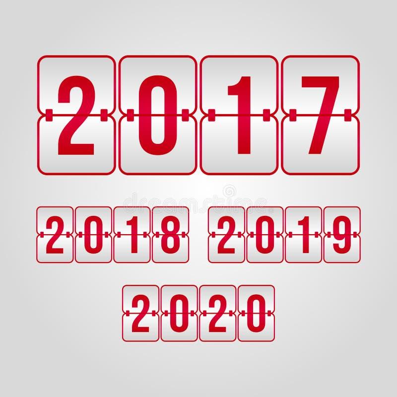 un insieme di 2017 2018 2019 2020 simboli di vibrazione Segni rossi e grigi del tabellone segnapunti di pendenza di vettore Illus royalty illustrazione gratis