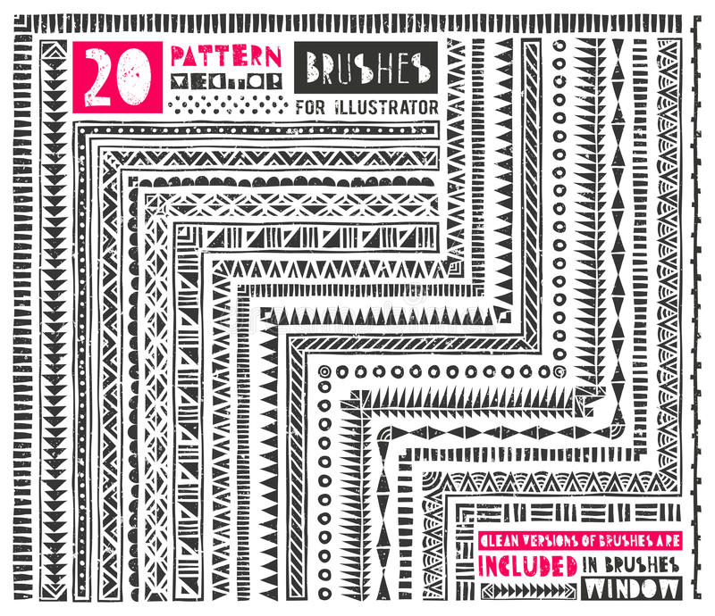 Un insieme di 20 spazzole del modello per l'illustratore illustrazione vettoriale