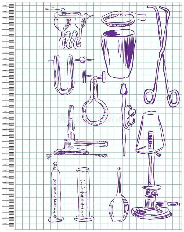 Un insieme di strumentazione chimica royalty illustrazione gratis