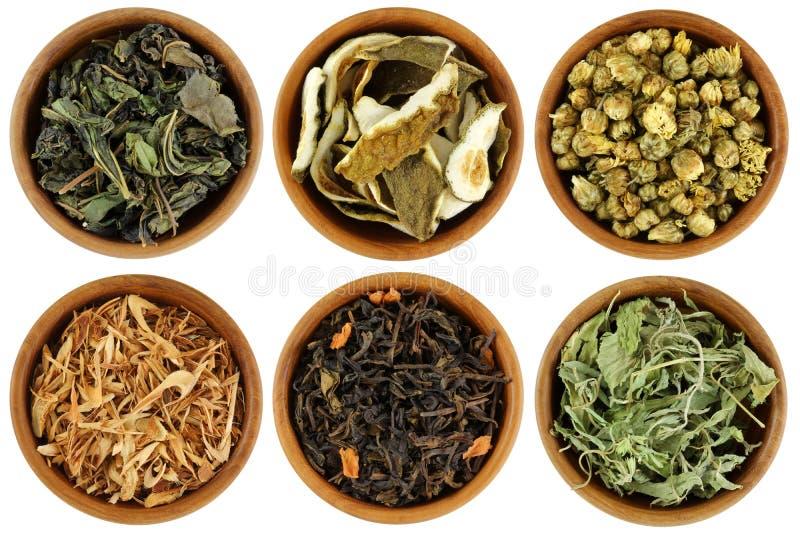 Un insieme di tè di erbe secco isolato su bianco immagine stock libera da diritti