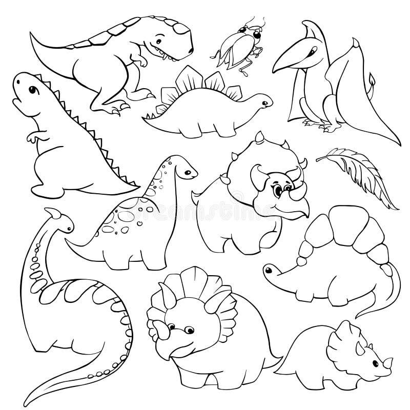 Un insieme di un tirannosauro gentile divertente di dodici degli elementi dei bambini del ` s dinosauri del fumetto, pterodattilo royalty illustrazione gratis