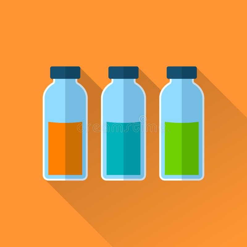 Un insieme di tre bottiglie con i reagenti royalty illustrazione gratis