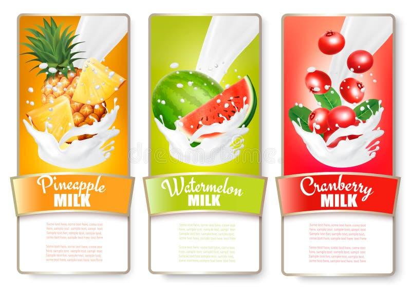Un insieme di tre etichette di frutta in latte spruzza illustrazione vettoriale
