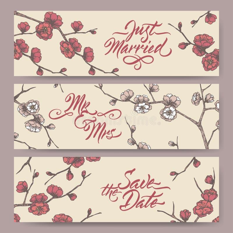 Un insieme di tre insegne originali di nozze basate sullo schizzo di colore del ramo della prugna e sulla calligrafia di fioritur illustrazione di stock