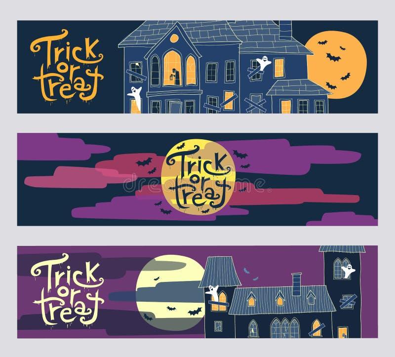 Un insieme di tre insegne orizzontali di web di Halloween di scherzetto o dolcetto illustrazione di stock