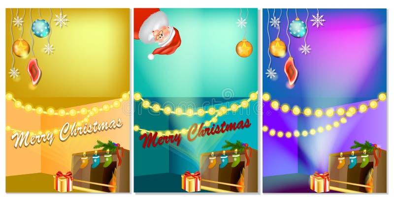 Un insieme di tre insegne verticali del nuovo anno con l'interno della casa del fumetto di Natale con il camino caldo illustrazione di stock