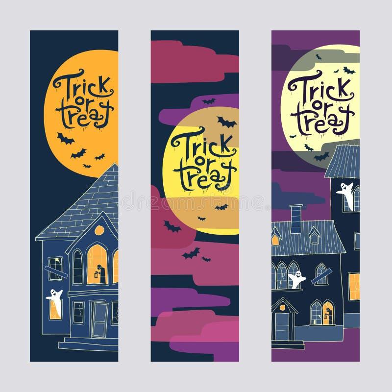 Un insieme di tre insegne verticali di web di Halloween di scherzetto o dolcetto illustrazione di stock