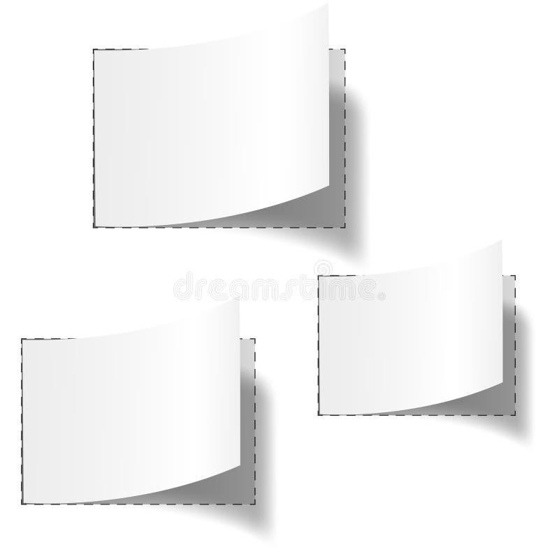 Un insieme di tre modifiche in bianco bianche illustrazione vettoriale