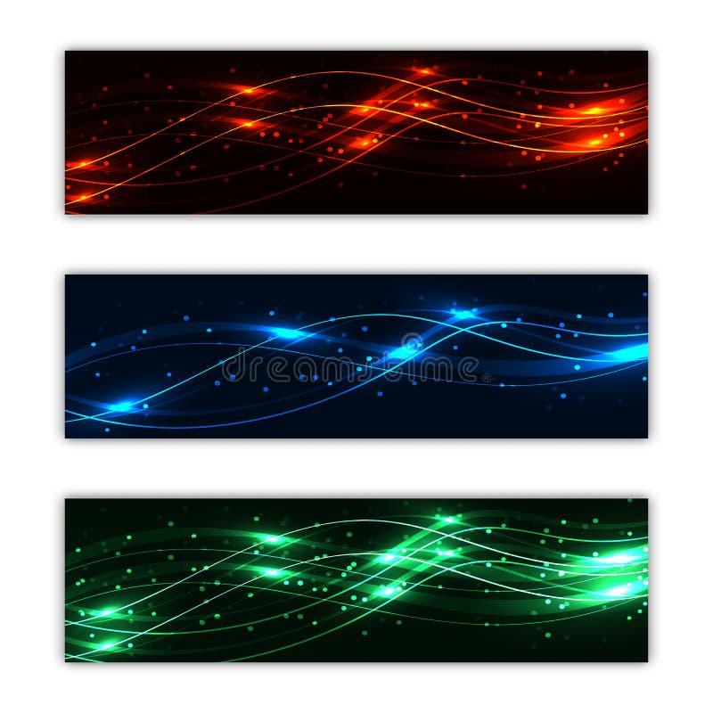 Un insieme di tre strutture multicolori astratte del fondo dei manifesti dal bello ardore digitale magico del laser emettente luc illustrazione vettoriale