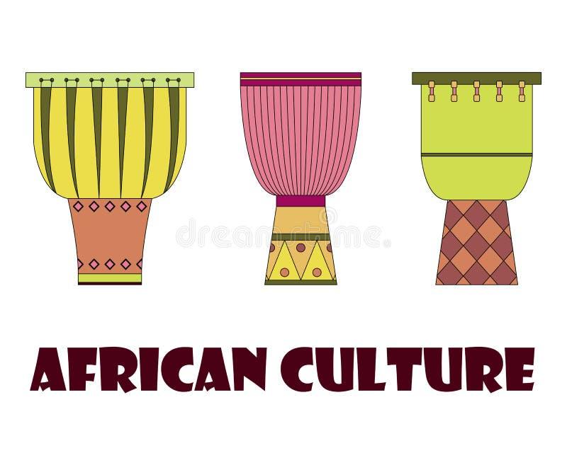 Un insieme di tre tamburi africani tradizionali illustrazione di stock
