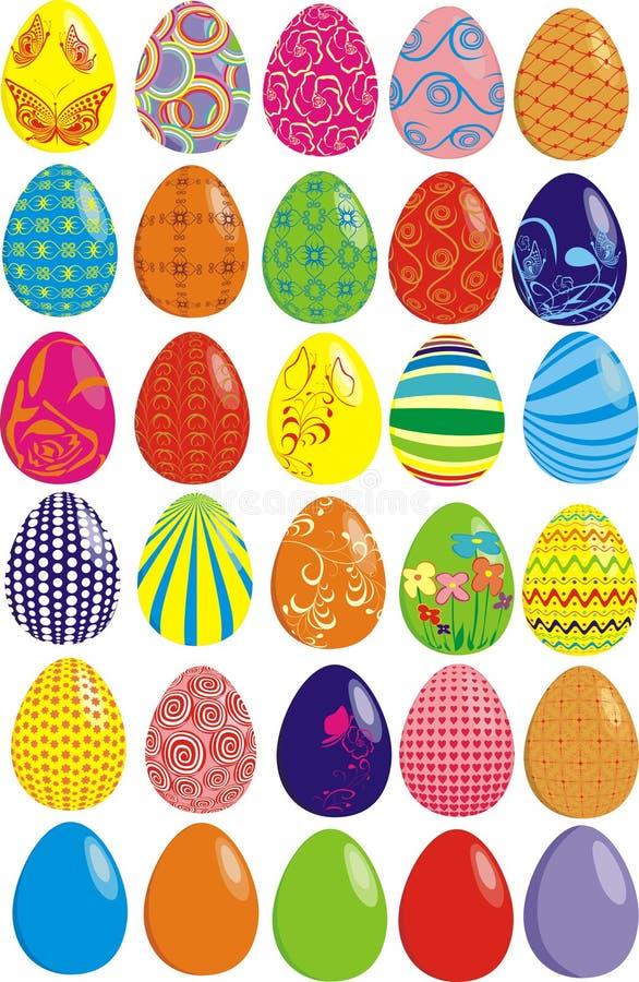 Un insieme di trenta uova di Pasqua illustrazione di stock