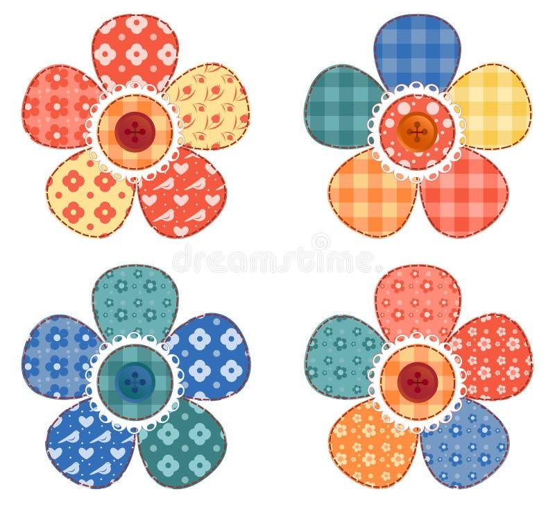 Un insieme di un fiore delle quattro rappezzature. illustrazione vettoriale