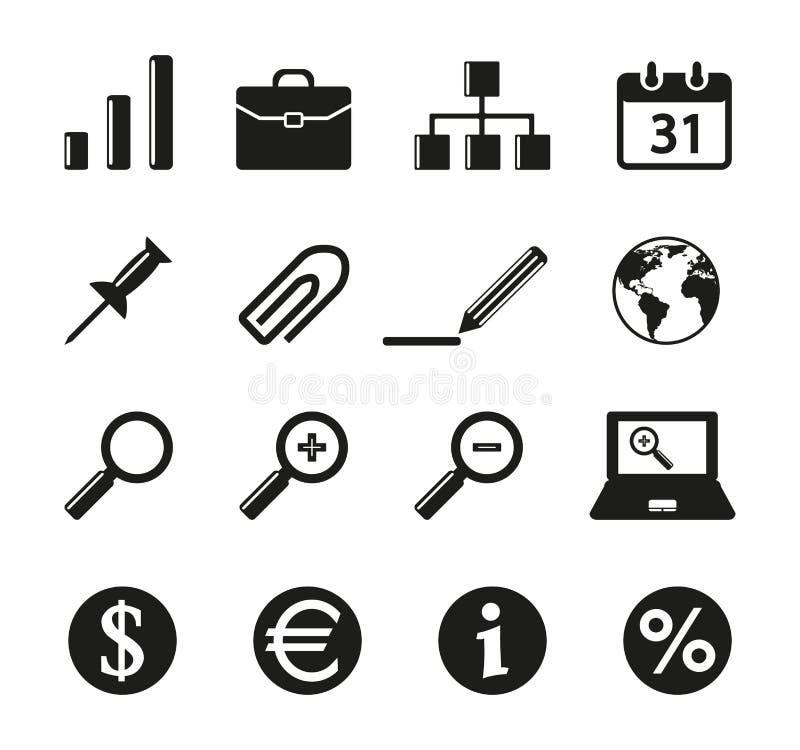 Un insieme di un'icona di sedici uffici illustrazione vettoriale