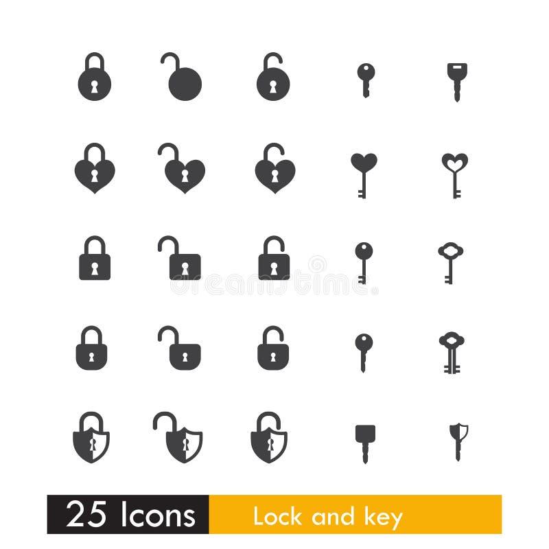 Un insieme di una chiave e di una serratura di 25 icone isolate su fondo bianco illustrazione vettoriale