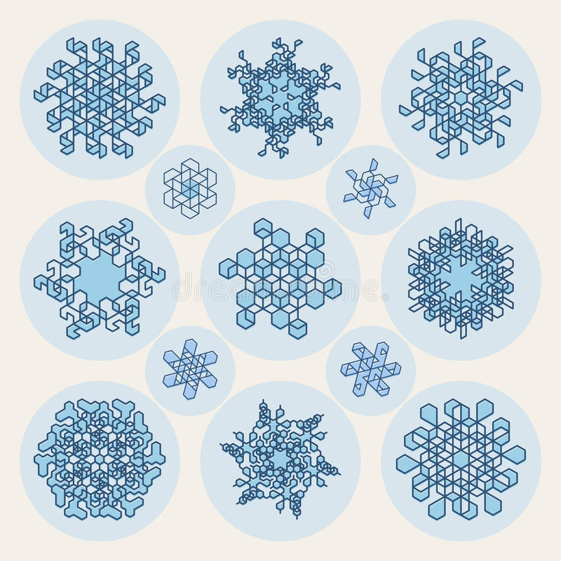 Un insieme di una linea elementi di tredici vettori di progettazione di forma del fiocco di neve di Art Stroke Offset Geometric B royalty illustrazione gratis