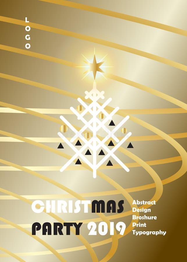 Un insieme di 2019 di vacanza invernale del buon anno di Natale di evento della decorazione CARTE di lusso dell'oro illustrazione di stock