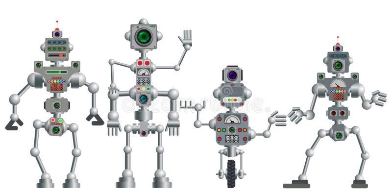 Un insieme di vari robot di umanoide Illustrazione di vettore royalty illustrazione gratis