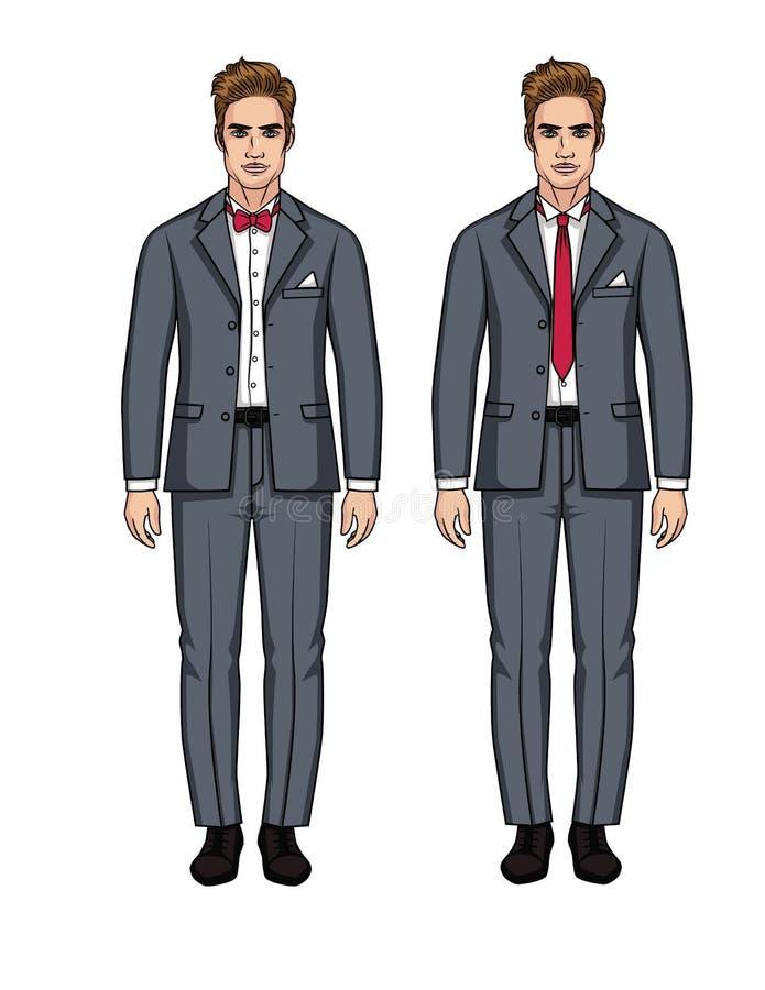 Un insieme di vettore di due uomini europei bei in vestiti illustrazione di stock