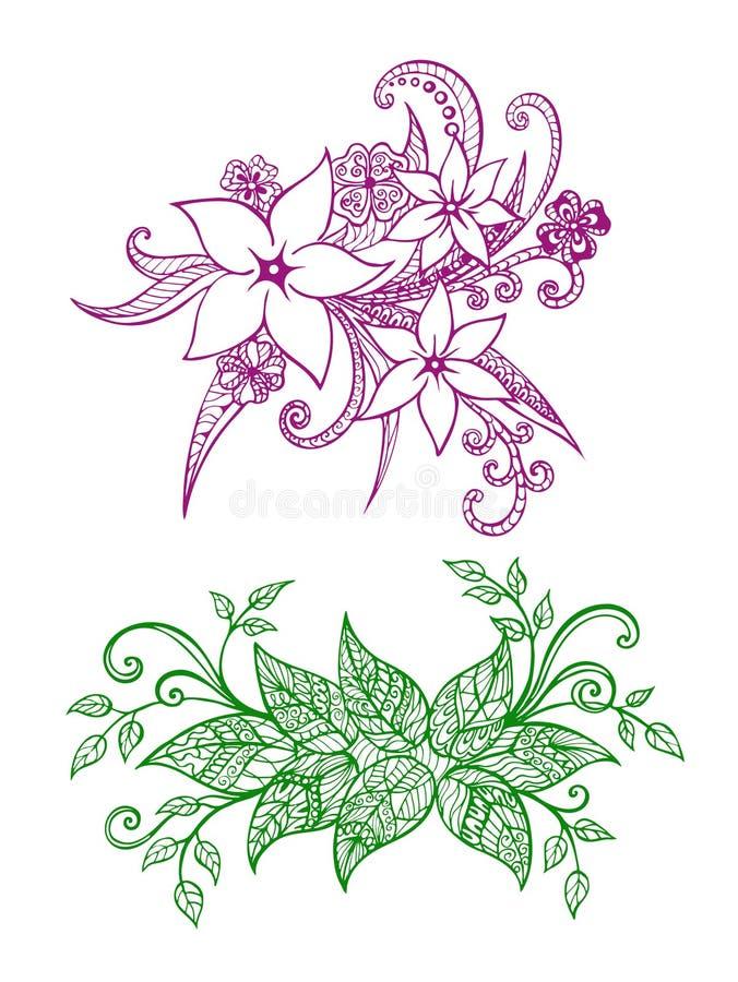 Un insieme di 2 zentangles della molla royalty illustrazione gratis