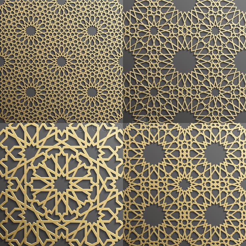 Un insieme islamico del modello di 4 ornamenti Ornamento geometrico e orientale arabo senza cuciture, indiano, motivo persiano, 3 illustrazione di stock