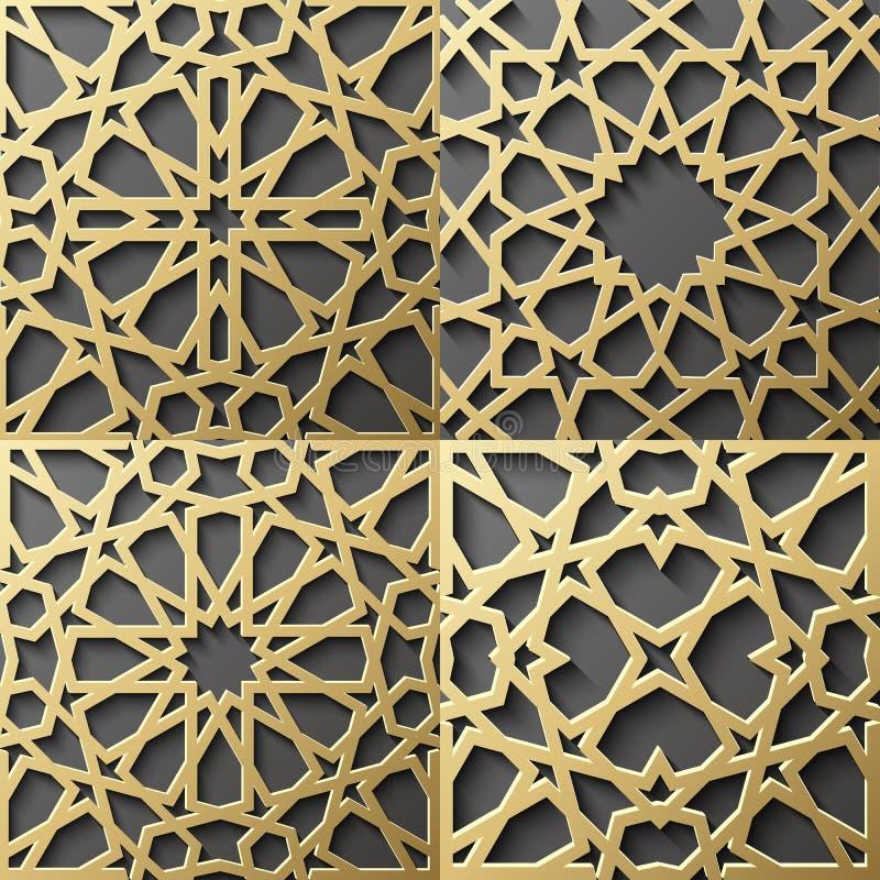 Un insieme islamico del modello di 4 ornamenti Ornamento geometrico e orientale arabo senza cuciture, indiano, motivo persiano, 3 illustrazione vettoriale