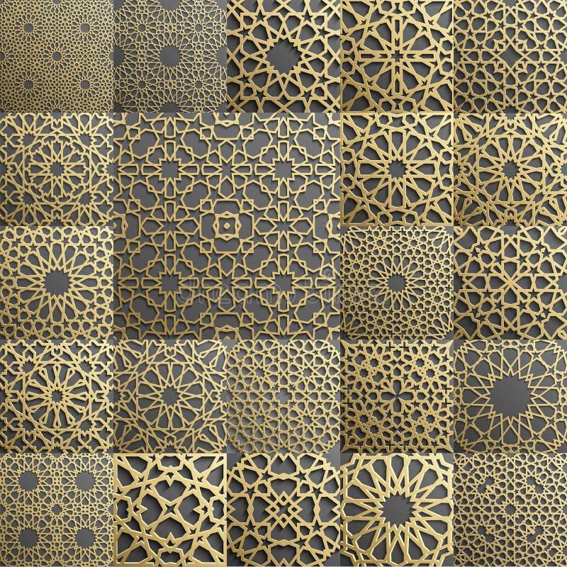 Un insieme islamico del modello di 22 ornamenti Ornamento geometrico e orientale arabo senza cuciture, indiano, motivo persiano,  royalty illustrazione gratis