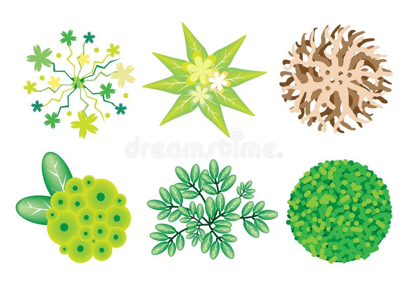 Un insieme isometrico degli alberi e delle piante illustrazione di stock
