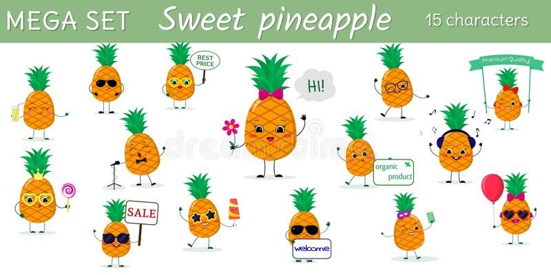 Un insieme mega di un carattere di quindici ananas nelle pose differenti e degli accessori nello stile del fumetto illustrazione vettoriale