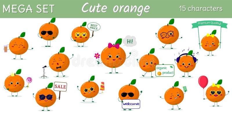 Un insieme mega di un carattere di quindici arance nelle pose differenti e degli accessori nello stile del fumetto illustrazione vettoriale
