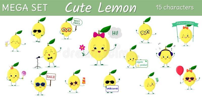 Un insieme mega di un carattere di quindici limoni nelle pose differenti e degli accessori nello stile del fumetto illustrazione di stock