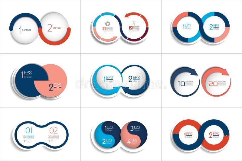 Un insieme mega di due elementi, punti grafico, diagramma, schema illustrazione di stock