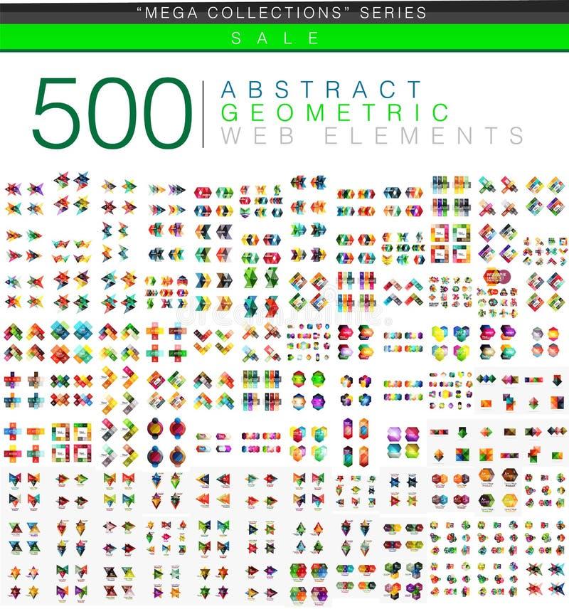 Un insieme mega enorme di 500 origami delle carte d'ufficio disegna le insegne infographic di opzione illustrazione vettoriale