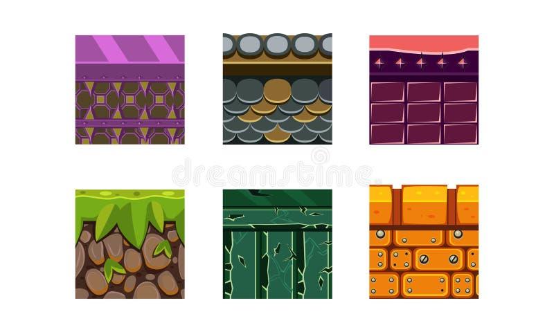 Un insieme piano di vettore di 6 tipi e materiali di struttura per il gioco della piattaforma Suolo asciutto con erba, i mattoni  royalty illustrazione gratis