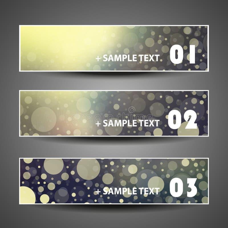 Un insieme pieno di bolle variopinto di vettore di tre progettazioni dell'intestazione royalty illustrazione gratis