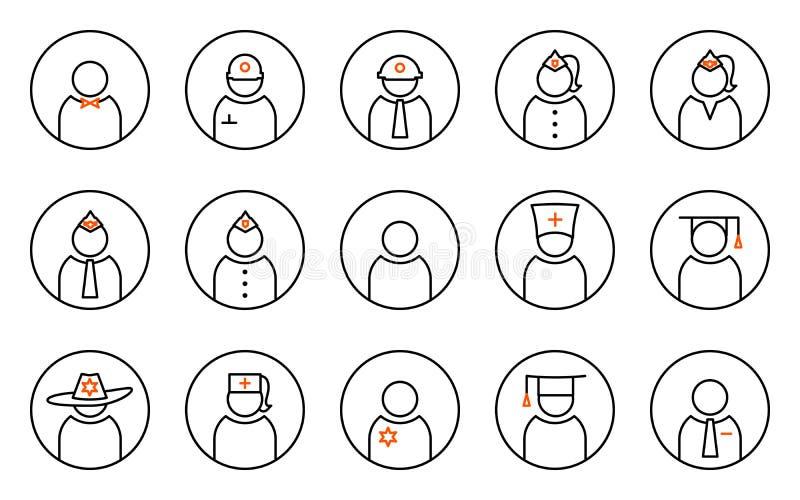 Un insieme quindici della linea piana icone per gli avatar professionali illustrazione vettoriale
