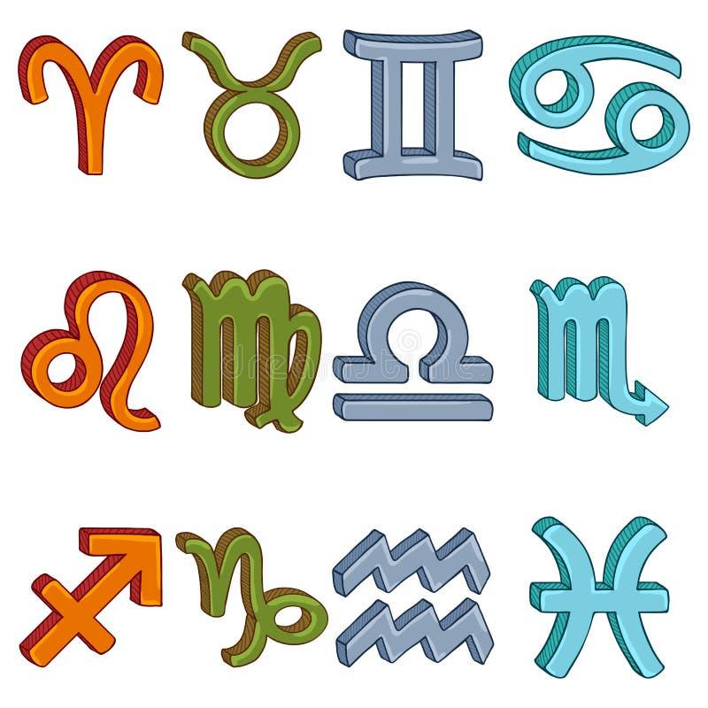 Un insieme variopinto del fumetto di vettore di 12 segni dello zodiaco Colore degli elementi illustrazione vettoriale