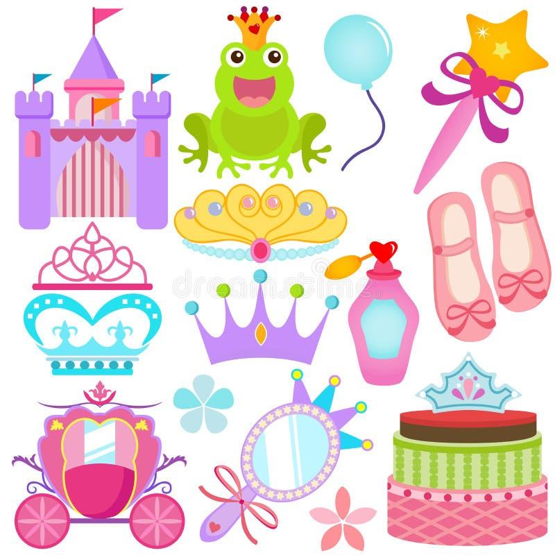 Un insieme variopinto delle icone di vettore: Principessa dolce Se illustrazione di stock