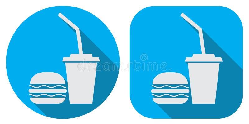 Un insigne d'hamburger et de kola illustration stock